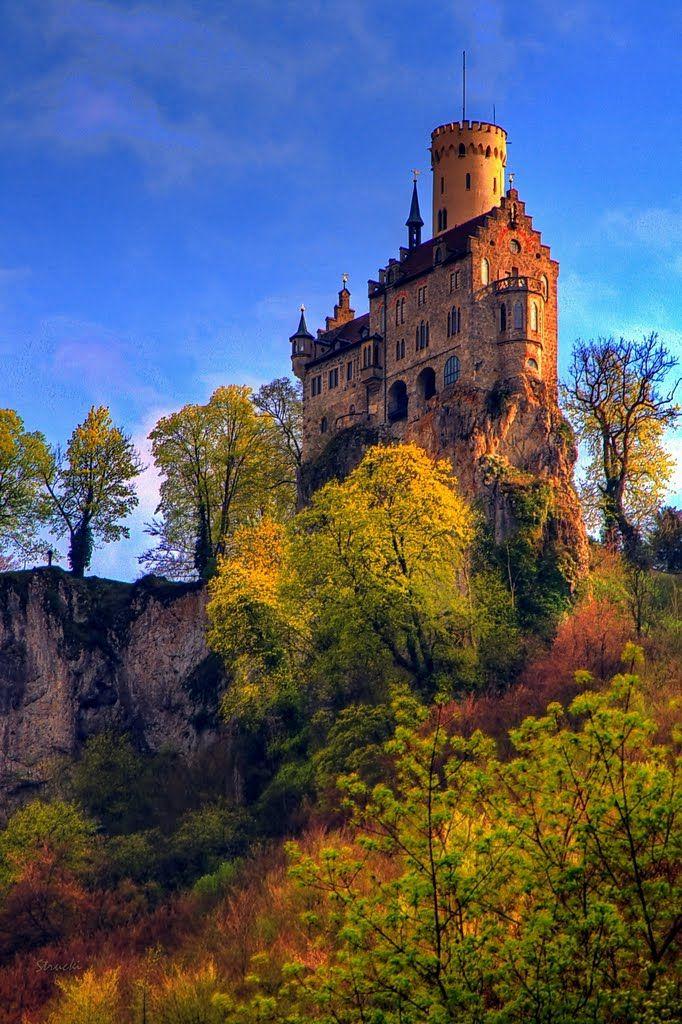 Schloss Lichtenstein,Deutschland (Lichtenstein Castle, Germany)  The perfect romantic castle, set high in the Swabian Alb overlooking the E...