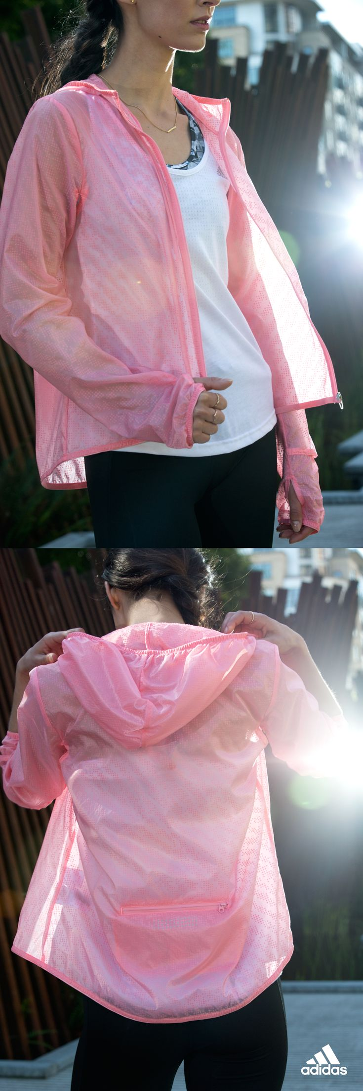Fickle weather calls for breathable transitional pieces like the Supernova Run Transparent jacket. Climaproof material keeps rain off your back without trapping heat. Layer up and head out. Product only available in the USA.