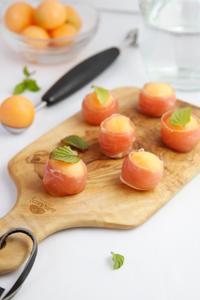 These prosciutto-wrapped melon bites are the perfect appetizer.