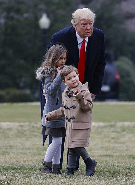 President Donald Trump spent some time with his grandchildren Arabella and Joseph today before boarding Marine One on his way to North Charleston, South Carolina.