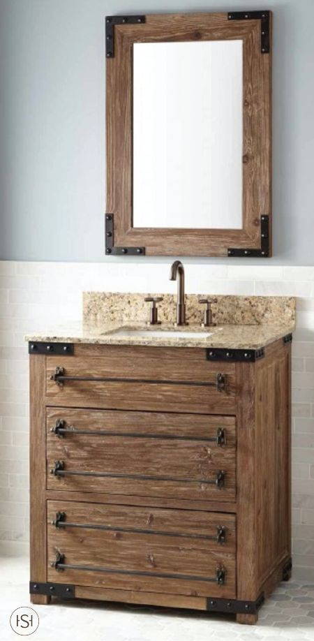 give your master bathroom a stunning makeover with this bonner reclaimed wood vanity by signature hardware the sleek metal pipe drawer pulls add to the