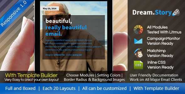 Dream.Story - Responsive Email Template + Builder