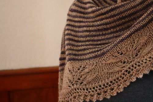 Andrea's shawl kirsten kapur en knit picks shadow doublé et malabrigo sock eggplant aig. 4