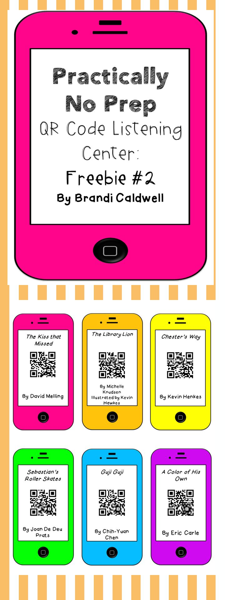 FREEBIE! Practically No Prep QR code listening center. Print these adorable QR codes and then watch as your students beg to work at this center. Implement it, like, yesterday.