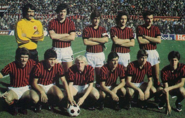 1979/80 AC Milan, Top, left to right: Enrico Albertosi, Aldo Bet, Gianni Rivera, Stefano Chiodi, Walter De Vecchi ,  Bottom, left to right: Aldo Maldera, Walter Novellino, Ruben Buriani, Roberto Antonelli, Franco Baresi, Fulvio Collovati