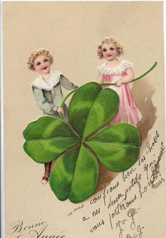 Vintage Postcard Clover With Relief Symbol Of Luck Circa 1910