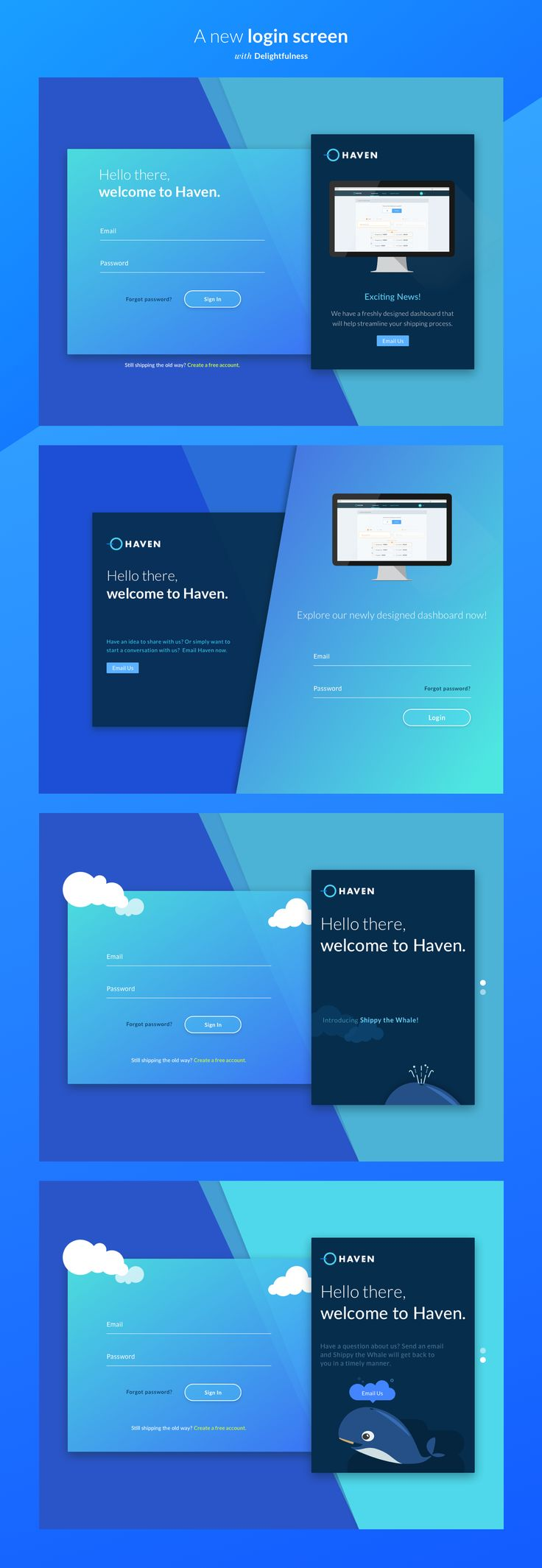 This project contains a few screens that were designed to increase new user acquisitions by offering them an experience that breaks away from the traditional enterprise visual aesthetics. Enjoy!