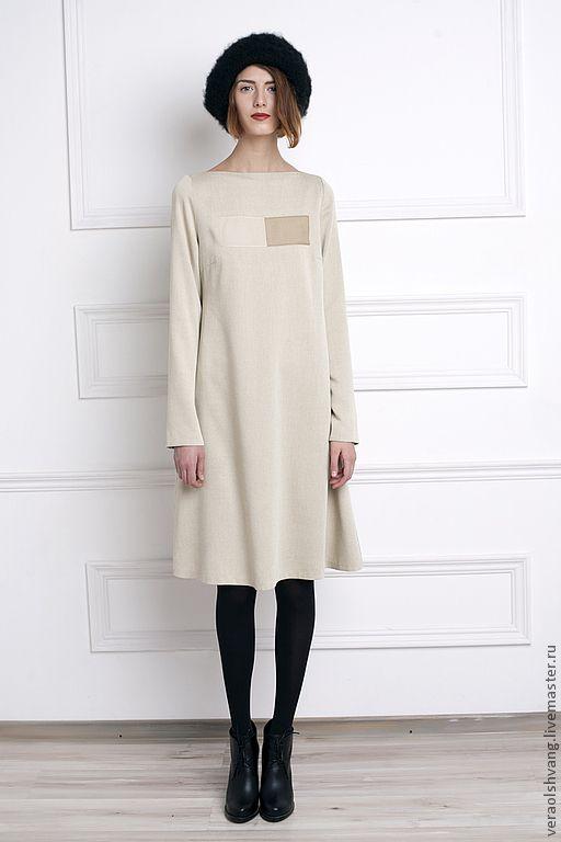 Купить Платье-трапеция с отделкой шифоном - бежевый, платье, платье-трапеция, повседневное платье