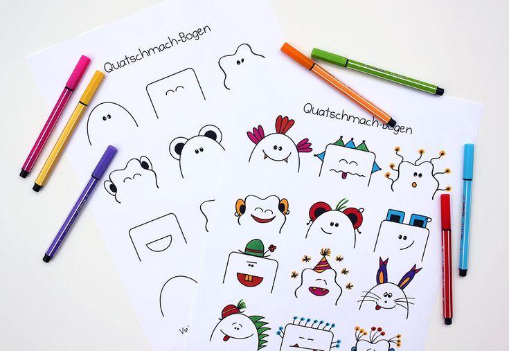 Quatschmach-Bogen zum Ausdrucken – tolle Malvorlage mit kleinen Monstern. Einfach Mund, Augen, Ohren und Accessoires ergänzen - je alberner, desto besser! :-D