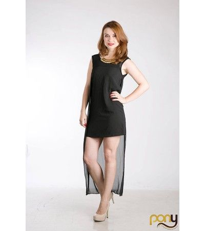 Black Asymmetrical Dress www.theponytail.ro