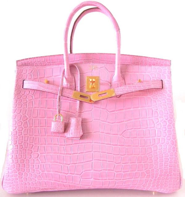 Hermes Birkin in pink and gold. Combine with stretch satin Edward Roth pants in pink or white!