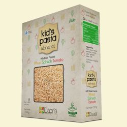 Organic pasta alphabet  ELAGRIS organic Kid's Alphabet Pasta is not only healthy, highly nutritious and fun for kids but also delicious in soups and funny pasta salads.  This traditional pasta remained unaffected over time. Durum semolina with its low glycemic index, low fat as well as cholesterol and sodium offers a lot of energy since it is high in protein, complex carbohydrates, potassium, magnesium, vitamin E and B and fiber.