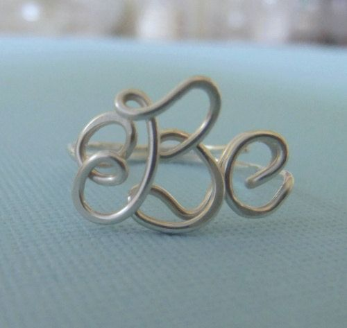 handcrafted monogram ring — $36.50: Diy Hairstyles, Wire Rings, Initials Rings, Clothing Accessories, Bridesmaid Gifts, Rings Ss, Handcrafted Monograms, Monograms Rings, Wedding Gifts