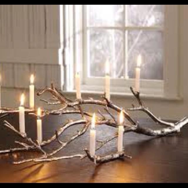 candelabre wood branch lighting candles DIY luminaire decorative