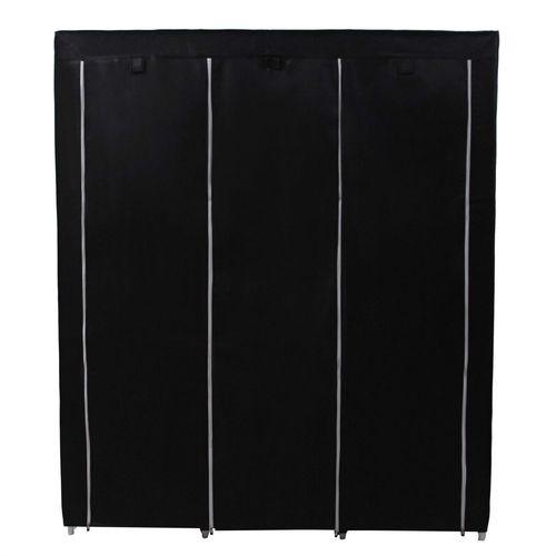 Steel Frame Black Fabric Portable Wardrobe Closet, Storage Shelves