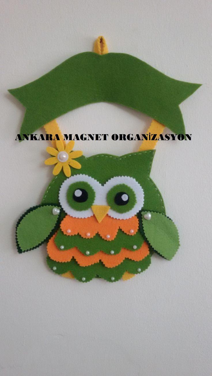 yeşil keçe baykuş kapı süsü