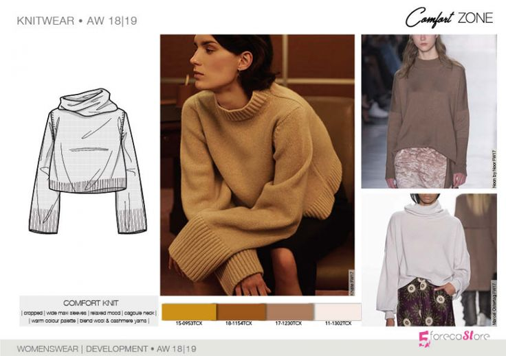 FW 208-19 Trend forecast: COMFORT KNIT, warm color palette, cropped, wide maxi sleeves,development designs by 5forecaStore Fashion trend forecasting.