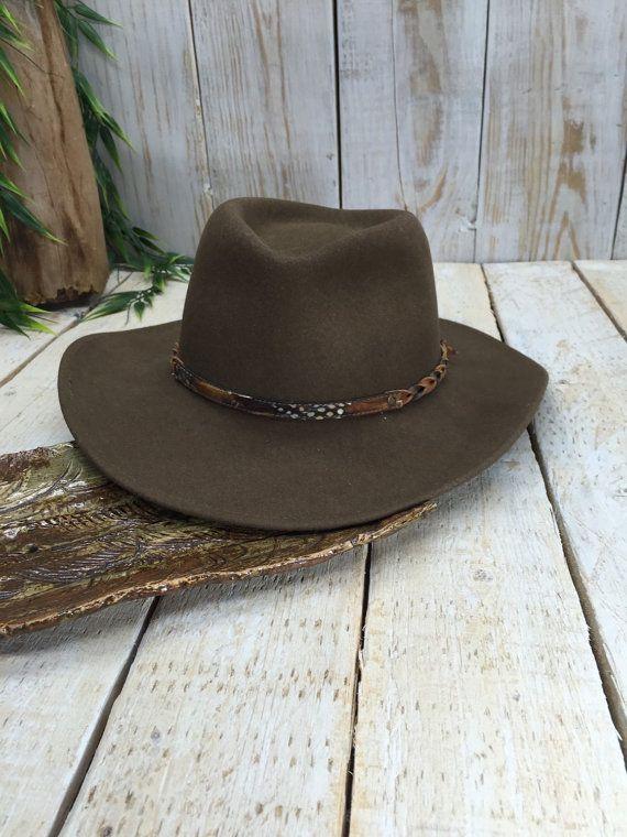 Borsalino Hat, Western Fedora, Beaver Fur Felt Hat, Borsalino Cap, Country Western Hat, Borsalino Fedora, Man Hat, Cowboy Hat, Feather Hat  by BostonInventory
