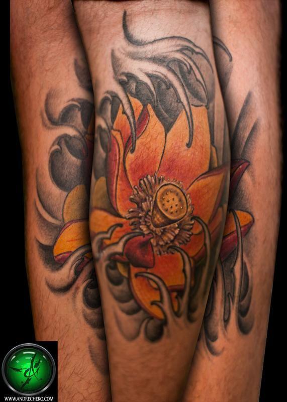 Off the Map Tattoo : Tattoos : Flower : Lotus flower leg tattoo