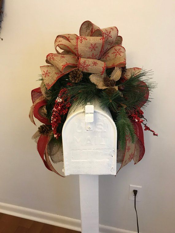 207mbs18 Rustic Christmas Mailbox Cover Rustic Christmas Mailbox Swag Rustic Christmas Decor Rustic Christmas Christmas Decorations Mailbox Covers