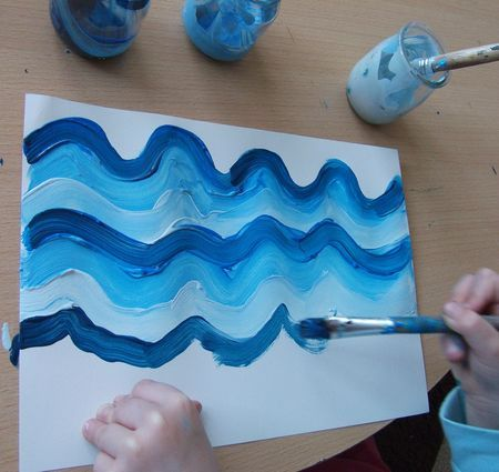 Painting the ocean - swooshy seas
