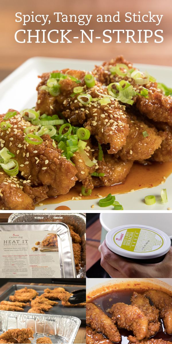 """""""Use this simple Chick-fil-A Reheatable Tray alteration to turn your next party into a grand slam. Ingredients: Chick-fil-A Reheatable Chick-n-Strips Tray  Chick-fil-A Sweet & Spicy Sriracha Sauce  Honey, Vinegar, Soy Sauce and Lime Juice"""""""
