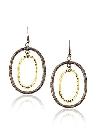 Kate Bissett Two-Tone Textured Oval Hoops
