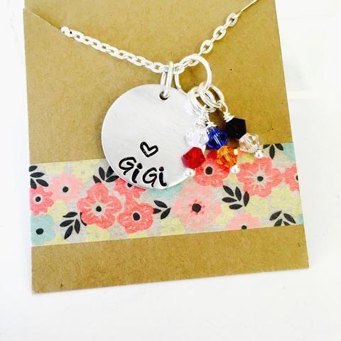 Grandma Birthstone Necklace, Grandma Necklace, Grandma Gift, Gigi Necklace Birthstones, Grandparent's Day, Personalized Grandma Necklace