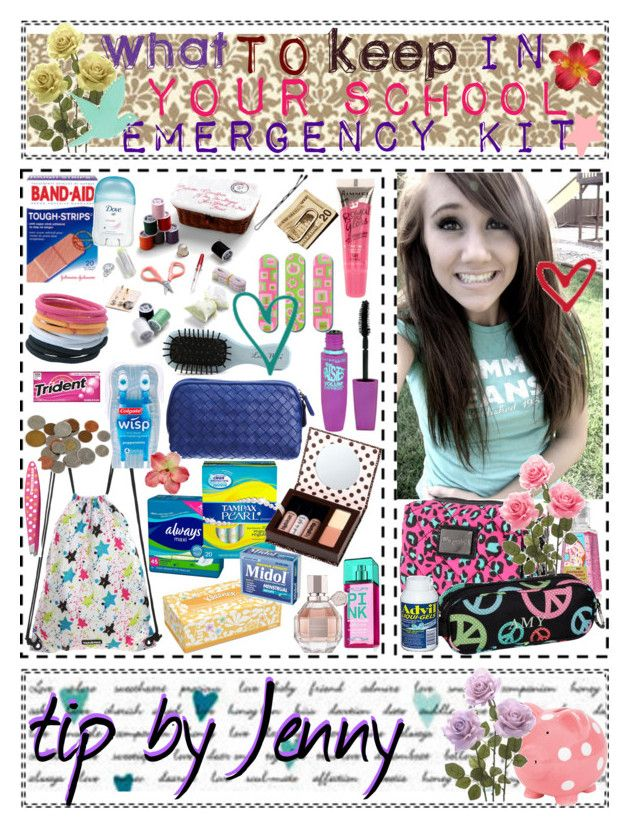 """((What)) to keep in your {{School}} Emergency [[Kit]]"" by triplethreatpolyvoretips ❤ liked on Polyvore featuring art, school, kit and emergency"