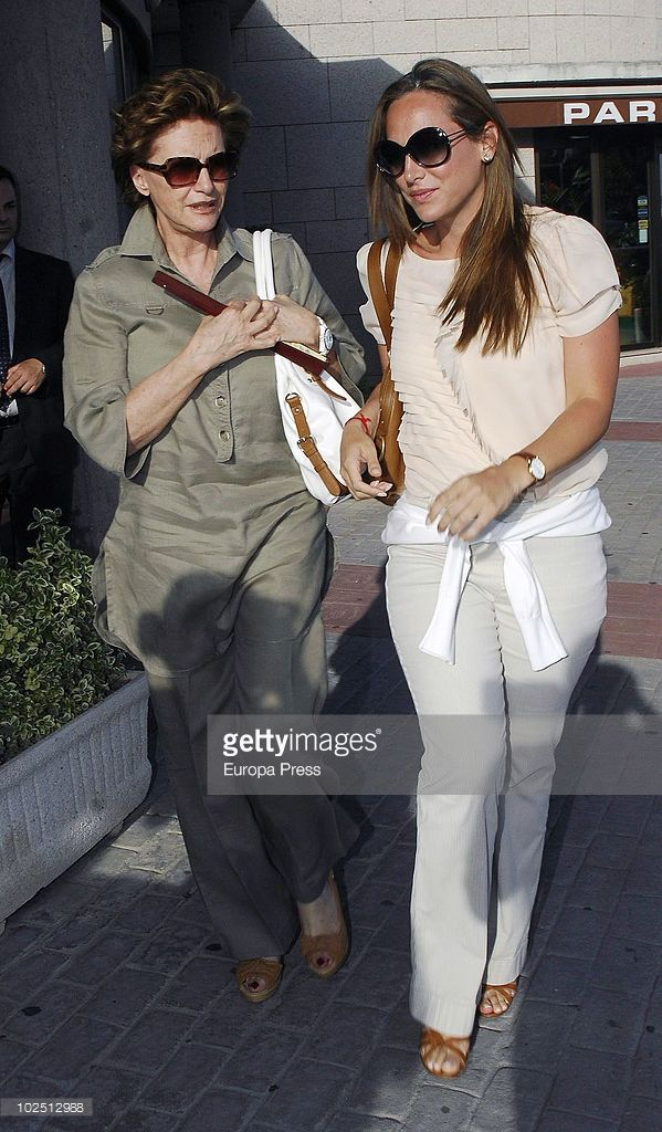 Tamara Falco (R) attends the funeral chapel for Isabel Garcia-Yebenes at La Paz morgue on June 28, 2010 in Madrid, Spain.