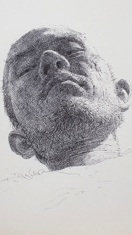 Artist Sam Kim | 5 hours ago (August 7, 2013) | 내려보는 자화상 20x26cm pen on paper (detail)