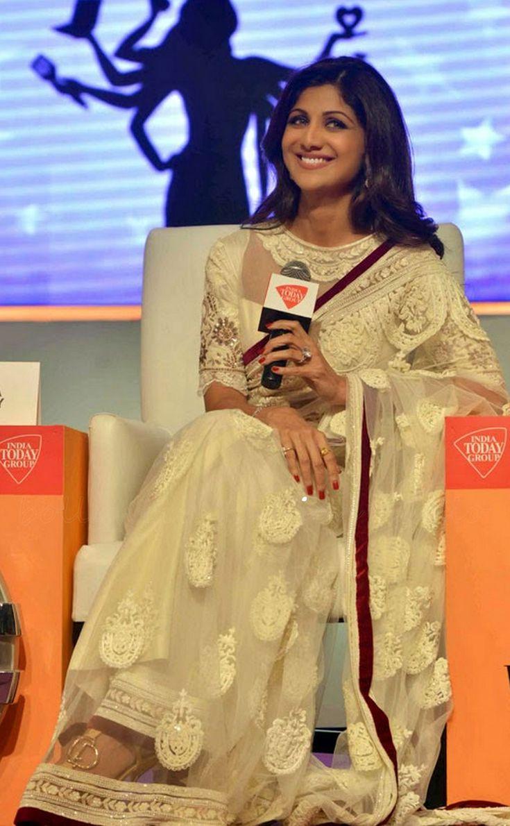 USD 64.6 Shilpa Shetty White Sheer Wedding Saree