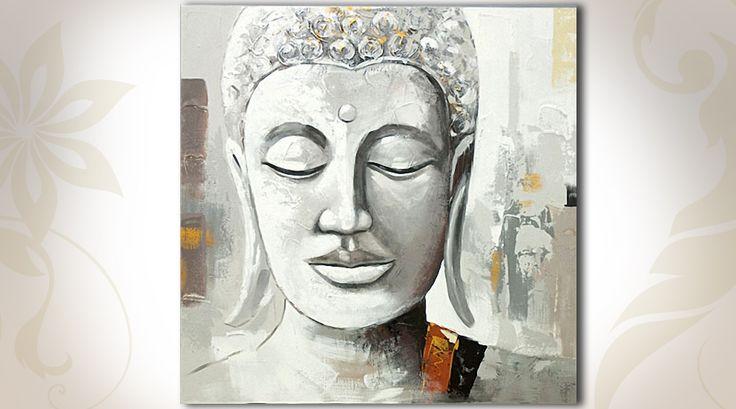 Tableau sur toile portrait d'un bouddha (1 m x 1 m)