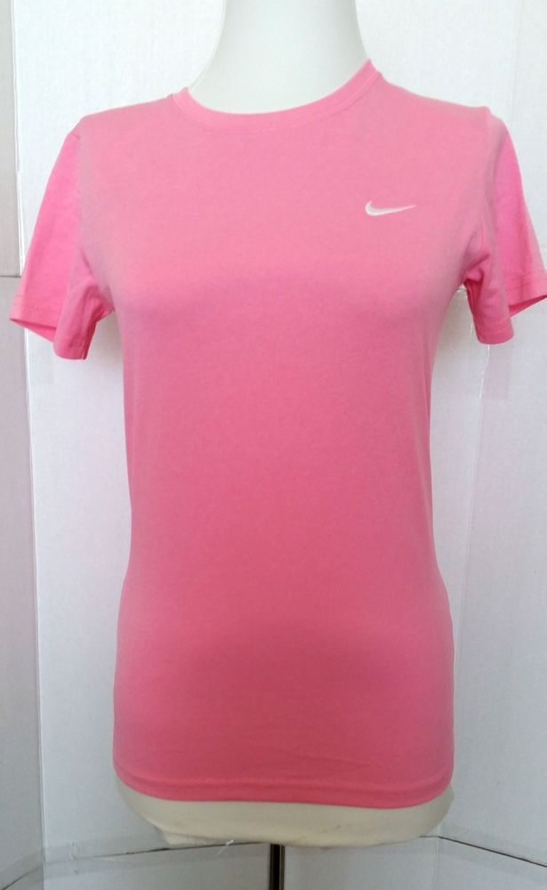 Nike Dri fit Top Shirt Short sleeve Pink Athletic Womens XS xsmall 343118 626 #Nike #BasicTee