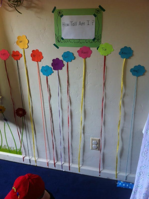 """How Tall am I?"" Flower Sprouts with the kids' names on the flowers."