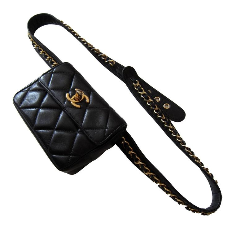 Chanel ~ Chain Hook Belt Quilted Waist Bag Black Leather  | From a collection of rare vintage wallets and small accessories at https://www.1stdibs.com/fashion/handbags-purses-bags/wallets-small-accessories/