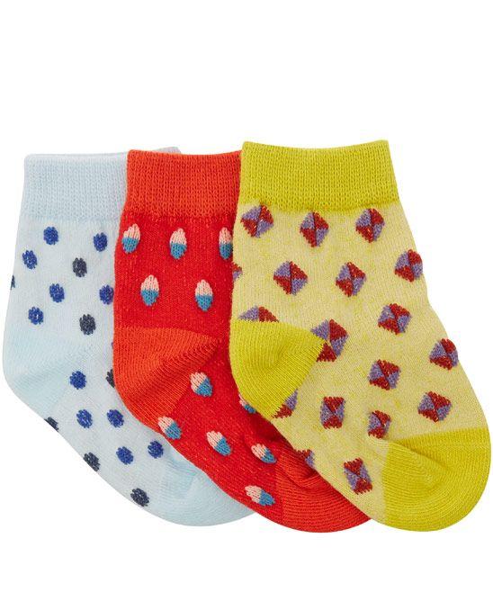 Petites Pattes Green Tricolour Dot Sock Box