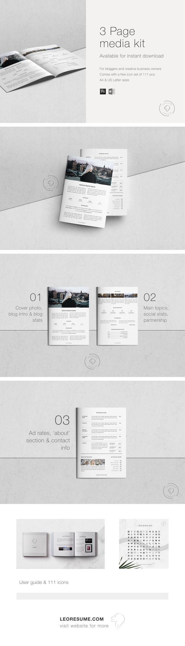 Social Media Kit | Media Kit for Bloggers | Blog Media Kit | #Photoshop and MS Word #templatesale | #Template