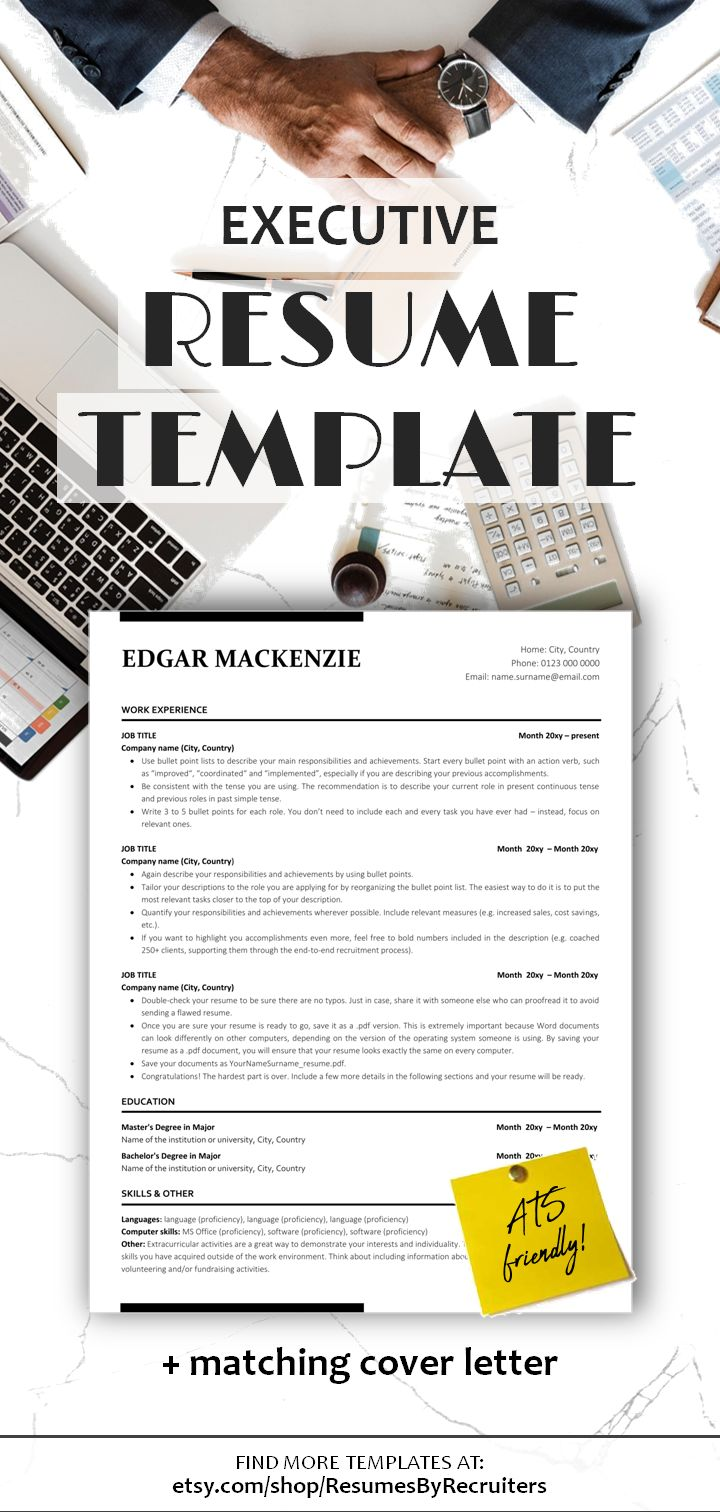 executive resume ats friendly resume - instant download