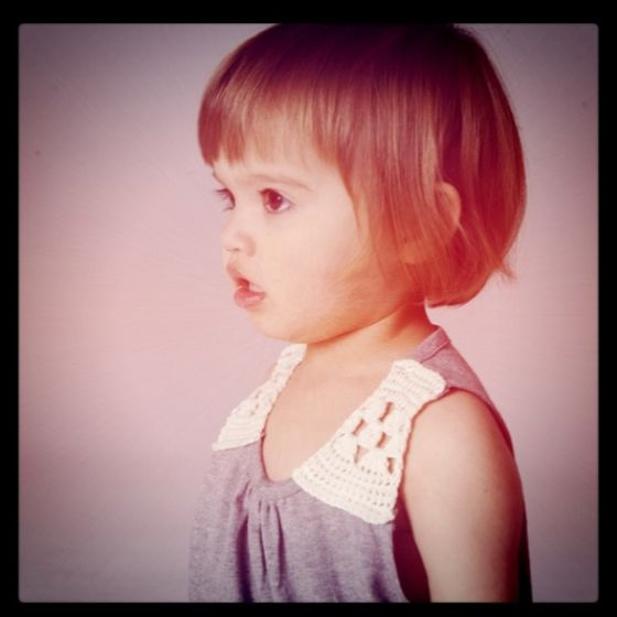 Cute dress and hair cut - she looks like me when I was a little girl!