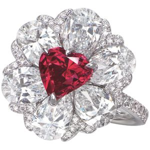 """Christie\\\'s Hong Kong Magnificent Jewels – Most Expensive Red Diamond RecordChristie\\\'s set a new world record for the most expensive red diamond to be sold at auction during its autumn Hong Kong Magnificient Jewels sale. """"Gem on Fire"""", a heart shaped fancy red diamond and diamond ring created by Moussaieff, ..."""