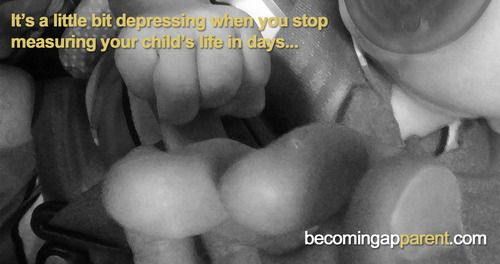 It's a little bit depressing when you stop measuring your child's life in days...