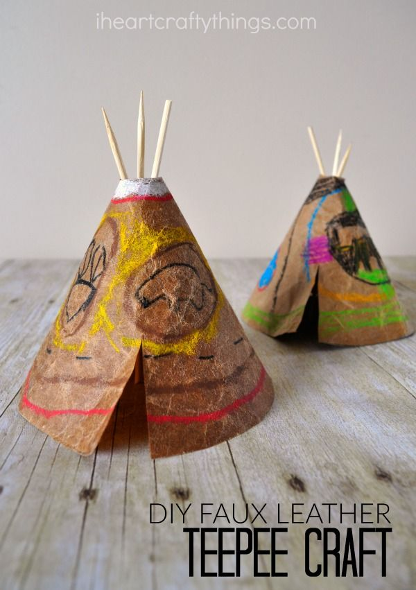 Use a solution of glycerin and water to create faux leather and make a cute DIY teepee craft for kids.
