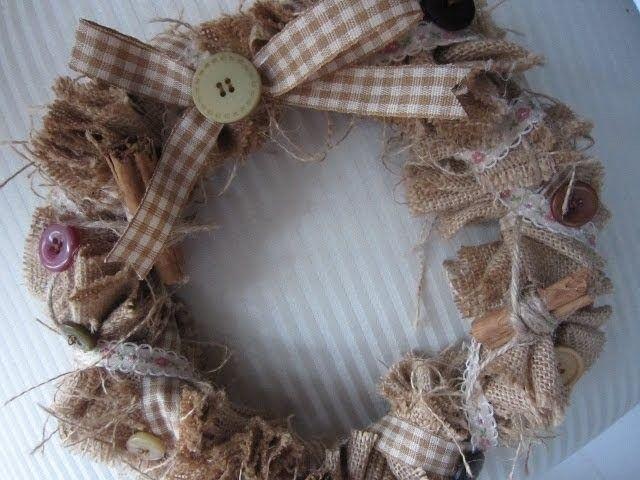 Shabby chic hessian wreath by Debbie Shore