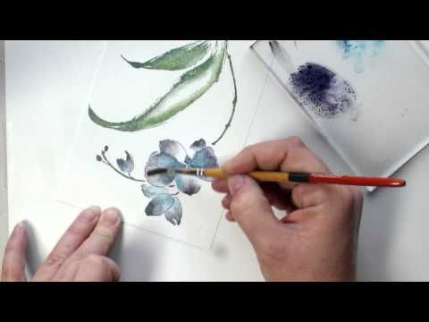 VIDEO tutorial demonstrating how you can achieve a watercolor flower using a quick and easy stamping technique with Penny Black brushstroke stamps