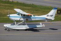 Grafair Cessna U206F Stationair SE-FRP aircraft, skating at Sweden Stockholm Bromma Airport. 15/06/2014.