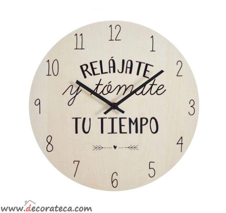 Original reloj de pared con la bonita y motivadora frase - Mecanismo reloj pared ...