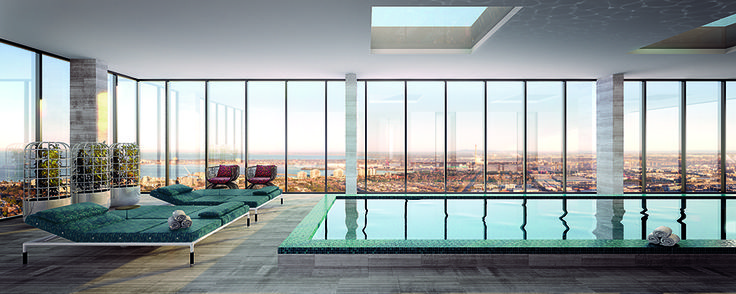 Artist rendition of Platinum Tower's pool, located on the 52nd floor, this will be the highest indoor pool in Melbourne. Set to be completed in 2016, Platinum Tower will surely add excitement to Melbourne's skyline.  http://platinumtower.com.au/