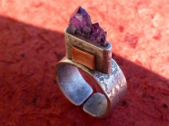 Bague pierre de gemme améthyste Bague tranche fine d'