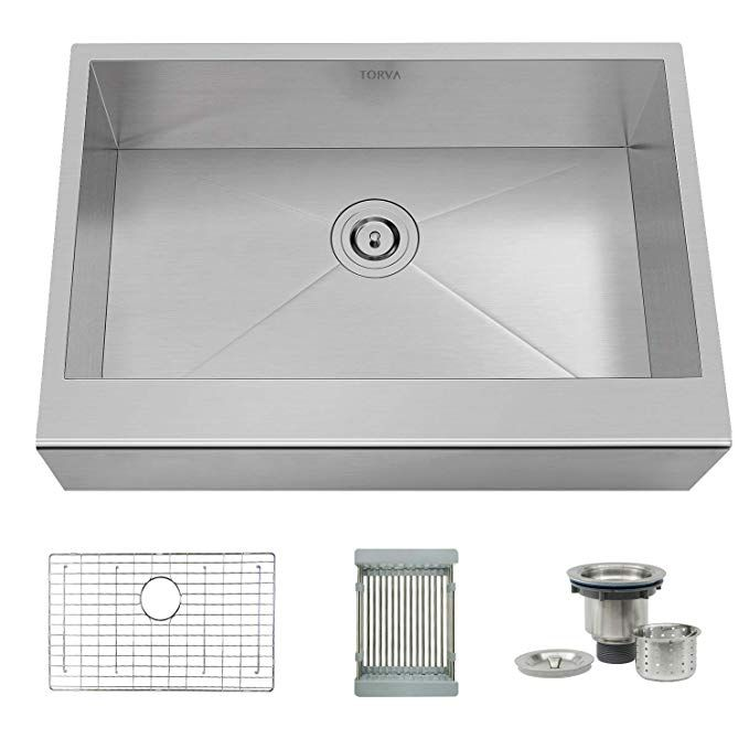 Torva 30 Inch Apron Front Farmhouse Kitchen Sink Single Bowl 16 Gauge Stainless Steel Flat Front Review